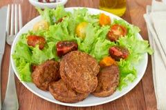Meatballs with fresh salad Stock Image