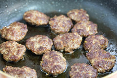 Meatballs fried in the pan Royalty Free Stock Photography