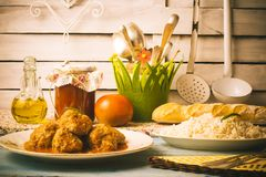 Meatballs with fried tomato Stock Photos