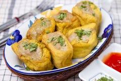 Meatballs fritados do tofu Fotografia de Stock