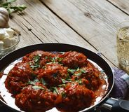 Meatballs in a frying pan cooked in tomato sauce. close up Royalty Free Stock Photos