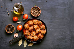 Meatballs in frying pan Royalty Free Stock Images