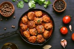 Meatballs in frying pan, top view Stock Photos