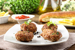 Meatballs with garlic, parsley and onion Stock Images