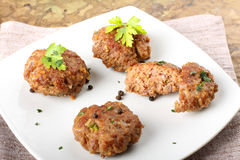 Meatballs with garlic, parsley and onion Stock Photo