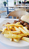 Meatballs garnished with french fries in a white plate Stock Images