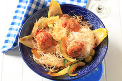 Meatballs with glass noodles Stock Photos