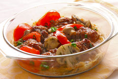 Meatballs in a glass pen Stock Photography