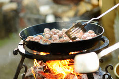 Meatballs on grill in the garden Stock Photos