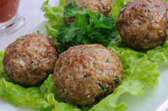 Meatballs with herbs Royalty Free Stock Photos