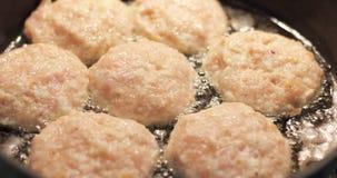Meatballs in hot oil Stock Image