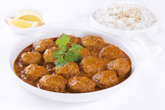 Meatballs i sås med Rice Royaltyfria Bilder
