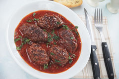 Meatballs i tomatsås Arkivbilder