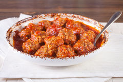 Meatballs i tomatsås Royaltyfria Foton