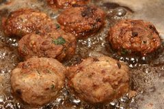 Meatballs In Hot Oil Royalty Free Stock Image