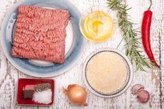 Meatballs ingredients Stock Photos