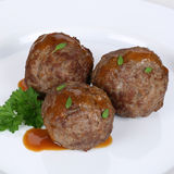 Meatballs or Köttbullar meal on plate Stock Images