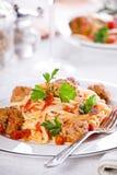Meatballs Linguine Stock Photo