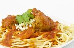 Meatballs in Marinara Sauce Over Sphaghetti Royalty Free Stock Photos