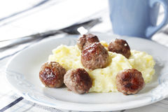 Meatballs with mashed potato Royalty Free Stock Photography