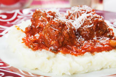 Meatballs with mashed potato Stock Photos