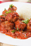 Meatballs with mashed potato Royalty Free Stock Image