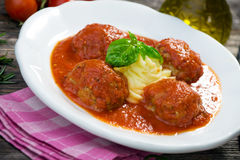 Meatballs and Mashed Potato Royalty Free Stock Photos