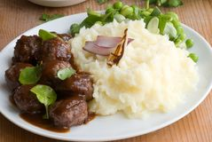 Meatballs with mashed potatoes Royalty Free Stock Photo