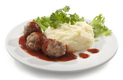 Meatballs with mashed potatoes Stock Images