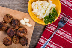 Meatballs with mashed potatoes Stock Photo