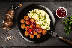 Meatballs and mashed potatoes stock photos