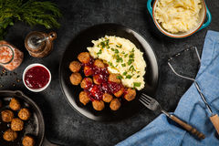 Meatballs and mashed potatoes Stock Image