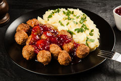 Meatballs and mashed potatoes Royalty Free Stock Photo