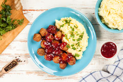 Meatballs and mashed potatoes Royalty Free Stock Photography