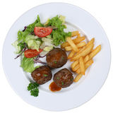Meatballs meal on a plate isolated Royalty Free Stock Photos