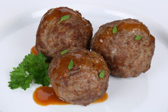 Meatballs meal with sauce on plate Royalty Free Stock Images