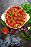 Meatballs. Meatballs in tomato sauce. With carrot and onion Royalty Free Stock Image