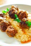 Meatballs med Rice arkivfoton
