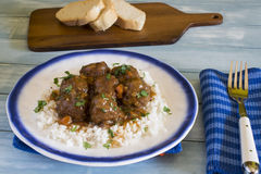 Meatballs med Rice royaltyfri bild