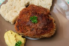 Meatballs of minced meat. With bread and mustard Royalty Free Stock Photo