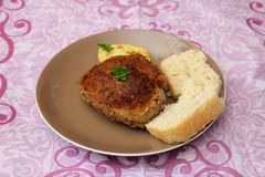 Meatballs of minced meat. With bread and mustard Royalty Free Stock Photos