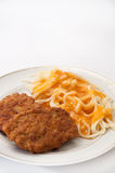 Meatballs of minced meat and spaghetti with tomato sauce Stock Image