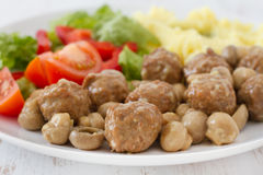 Meatballs with mushrooms Royalty Free Stock Images