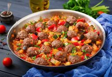 Meatballs no molho de tomate Fotos de Stock