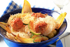 Meatballs and noodles Royalty Free Stock Photo