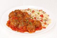 Meatballs och Couscous Royaltyfria Bilder