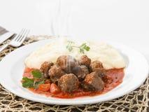 Meatballs och mosade potatisar Royaltyfri Foto