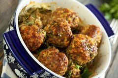 Meatballs in a pan closeup. Stock Photo