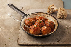 Meatballs in pan Stock Image