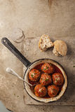 Meatballs in pan Royalty Free Stock Image